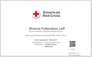 Red Cross/First Aid CPR/AED Certification Adult/Pediatric